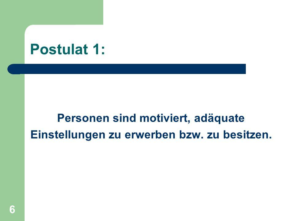 Postulat 1: Personen sind motiviert, adäquate