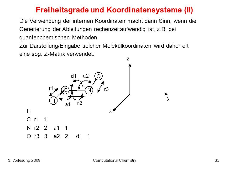 Freiheitsgrade und Koordinatensysteme (II)