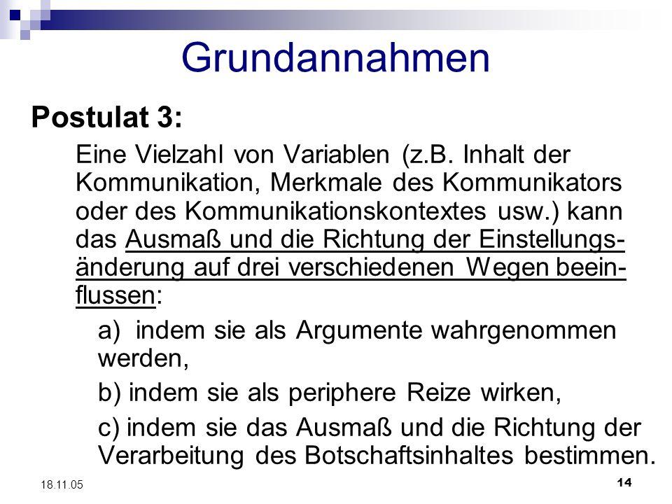 Grundannahmen Postulat 3:
