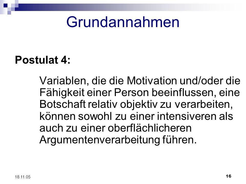 Grundannahmen Postulat 4: