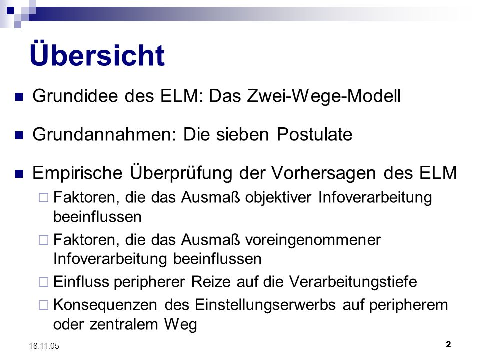 Übersicht Grundidee des ELM: Das Zwei-Wege-Modell