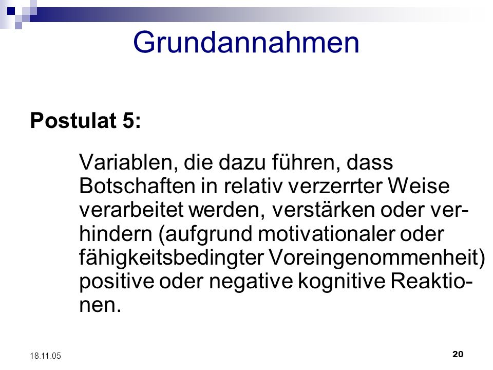 Grundannahmen Postulat 5: