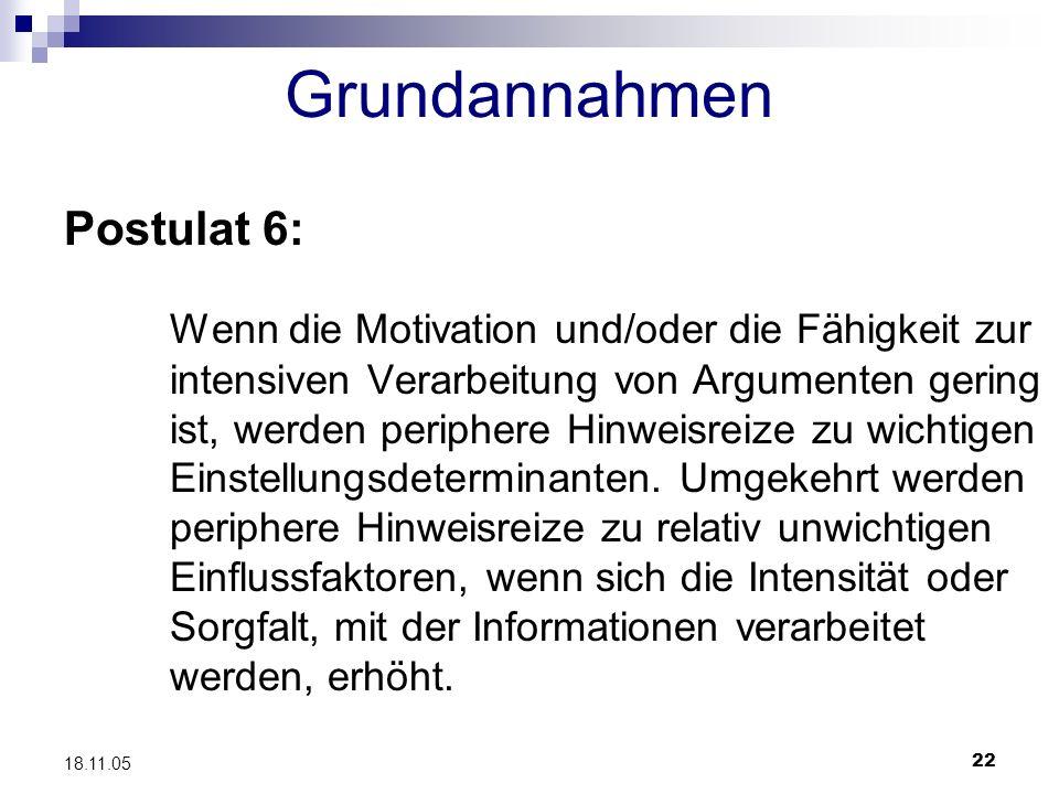 Grundannahmen Postulat 6: