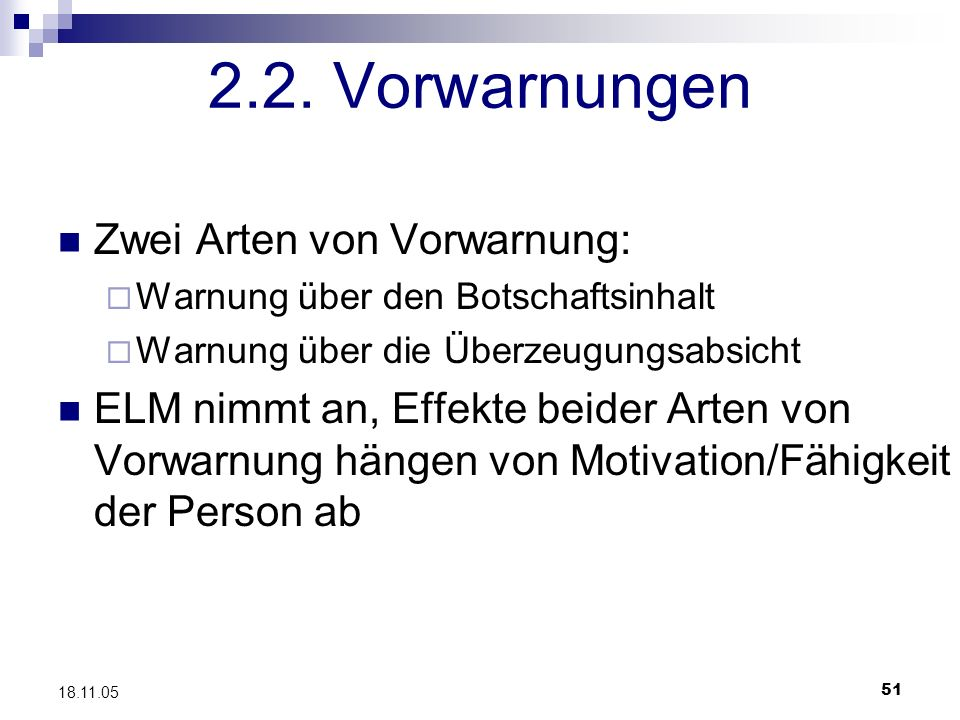 2.2. Vorwarnungen Zwei Arten von Vorwarnung:
