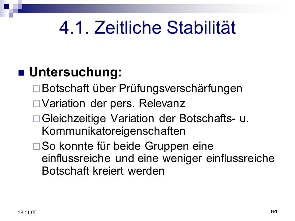 4.1. Zeitliche Stabilität Untersuchung: