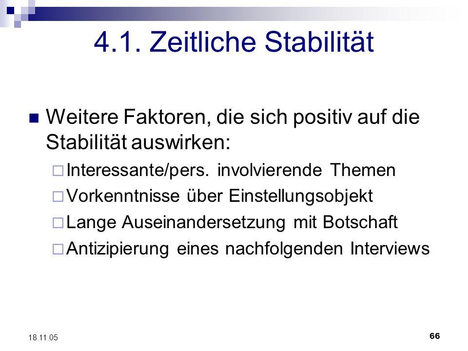4.1. Zeitliche Stabilität Weitere Faktoren, die sich positiv auf die Stabilität auswirken: Interessante/pers. involvierende Themen.