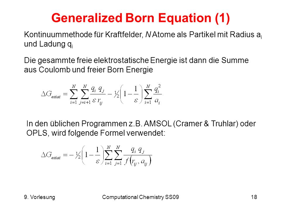 Generalized Born Equation (1)