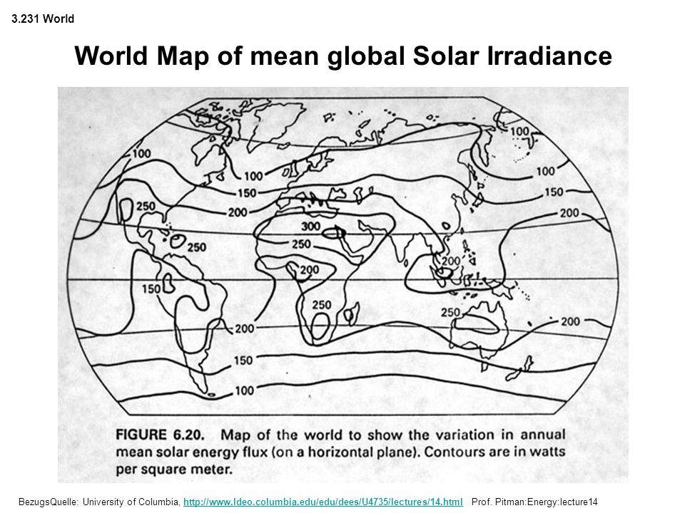 World Map of mean global Solar Irradiance