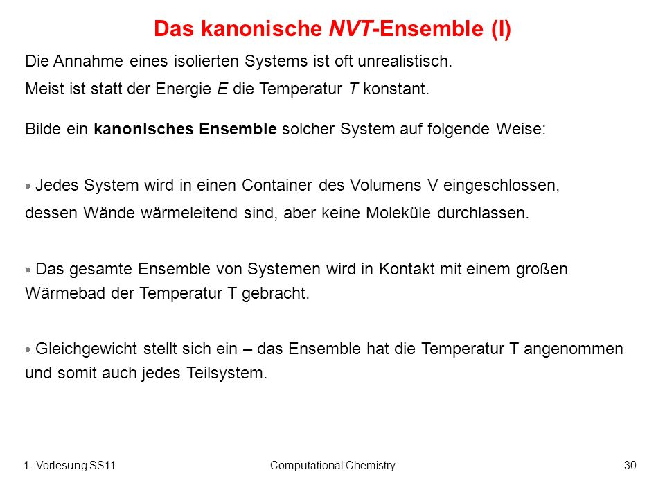 Das kanonische NVT-Ensemble (I)