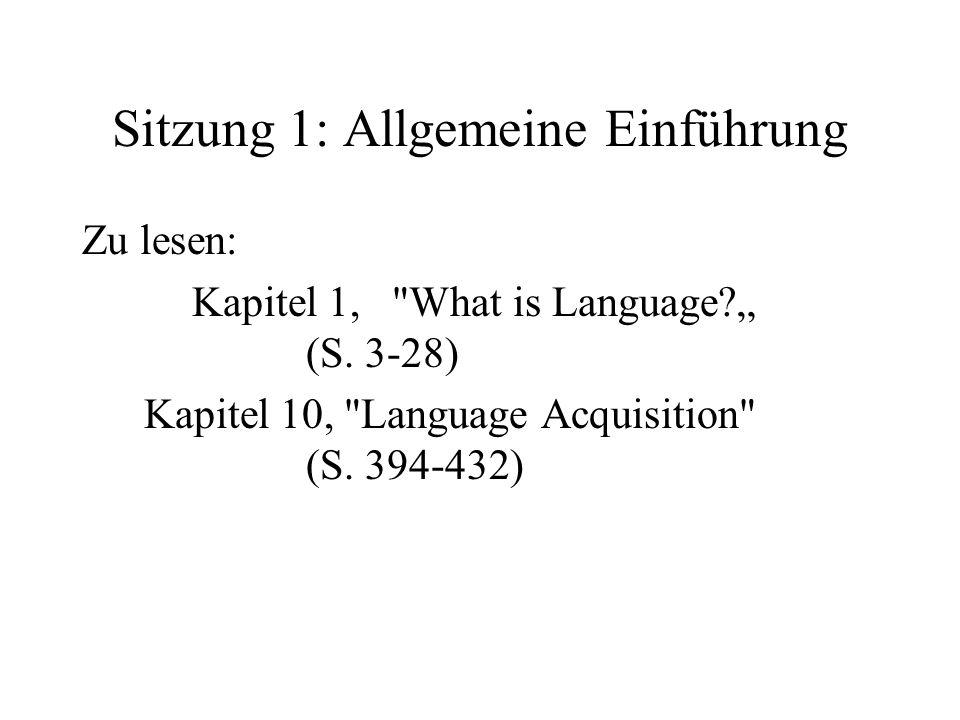 Sitzung 1: Allgemeine Einführung