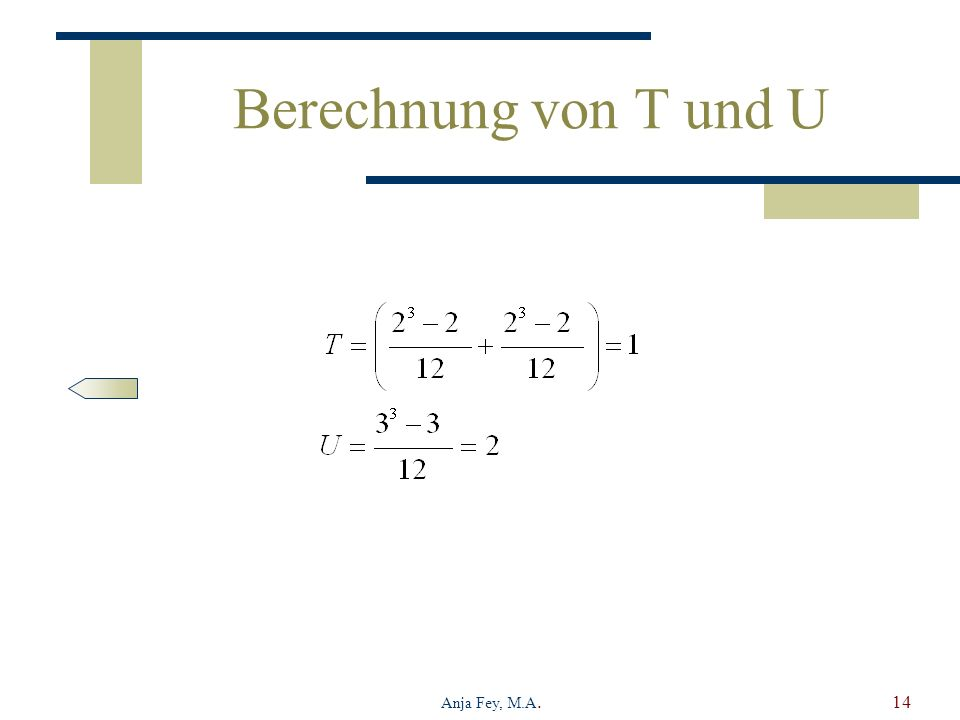 Berechnung von T und U Anja Fey, M.A.