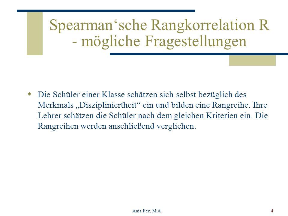 Spearman'sche Rangkorrelation R - mögliche Fragestellungen