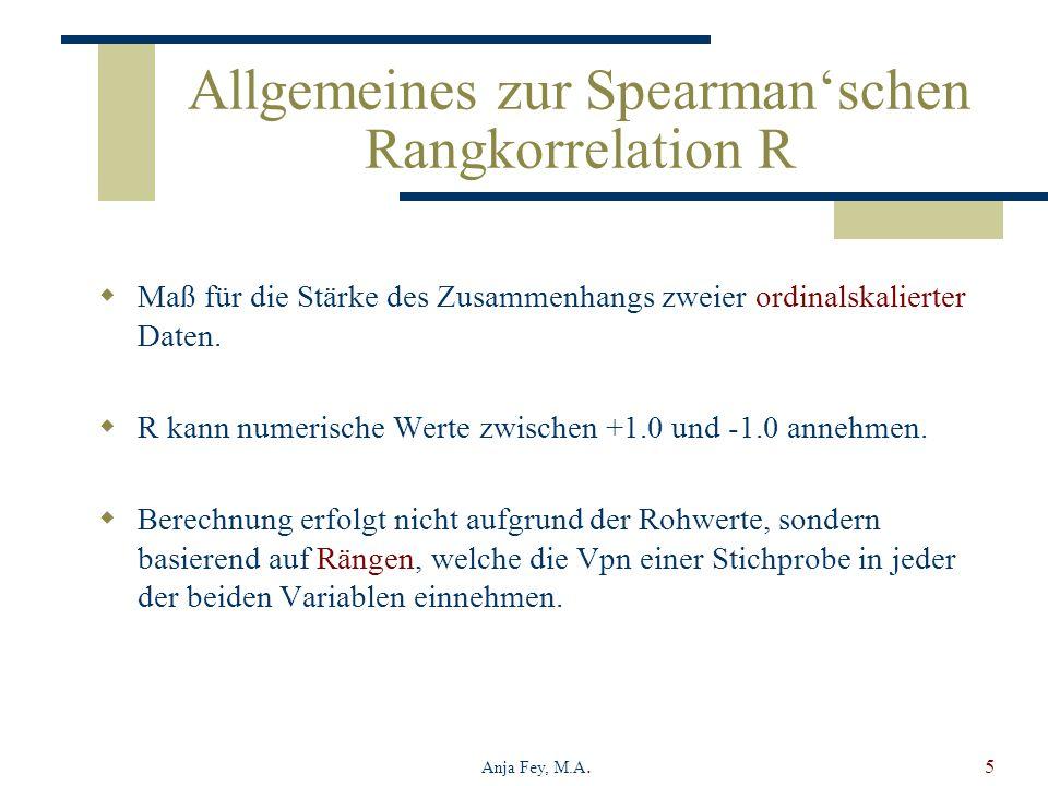 Allgemeines zur Spearman'schen Rangkorrelation R