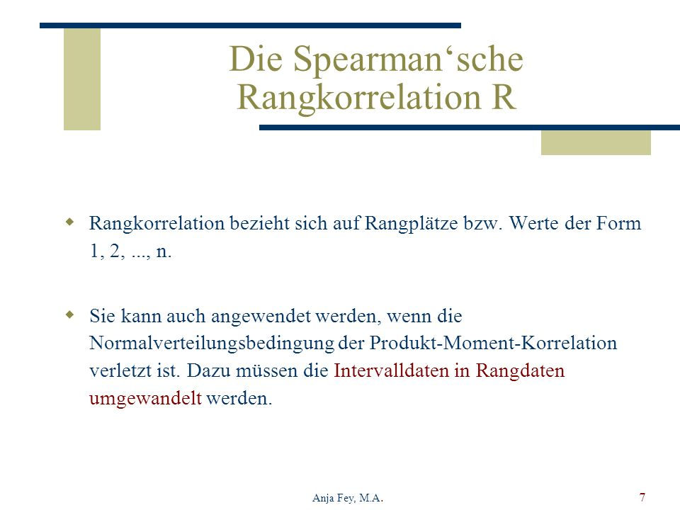 Die Spearman'sche Rangkorrelation R