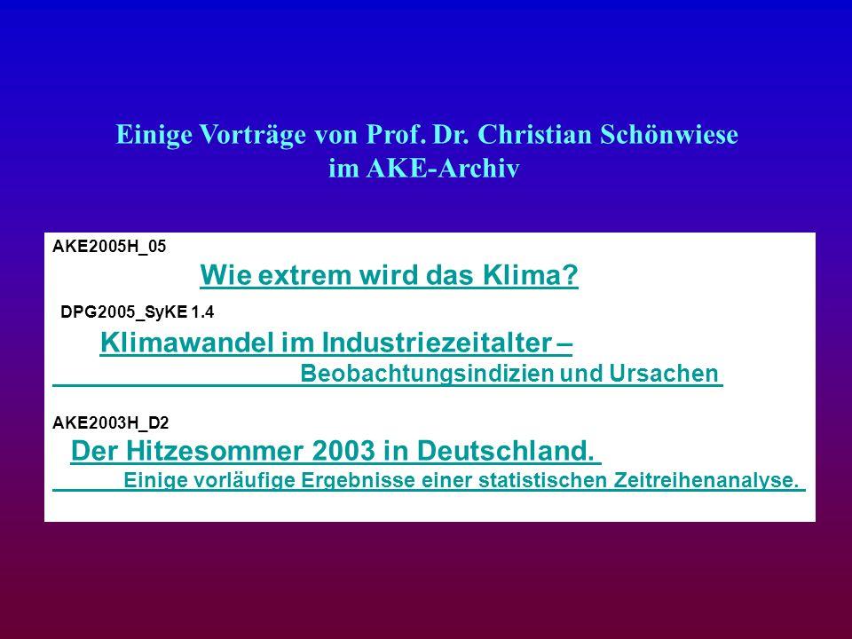 Einige Vorträge von Prof. Dr. Christian Schönwiese