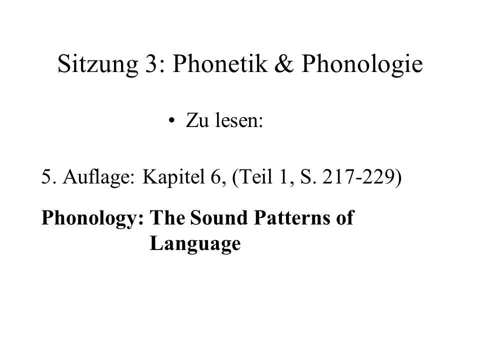 Sitzung 3: Phonetik & Phonologie