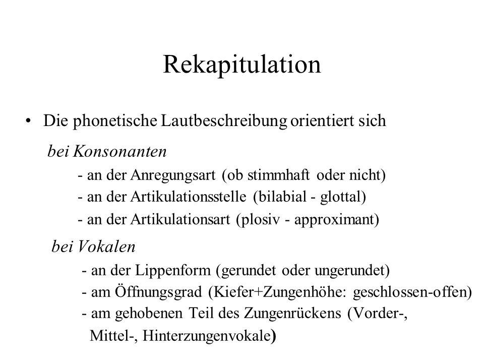 Rekapitulation Die phonetische Lautbeschreibung orientiert sich
