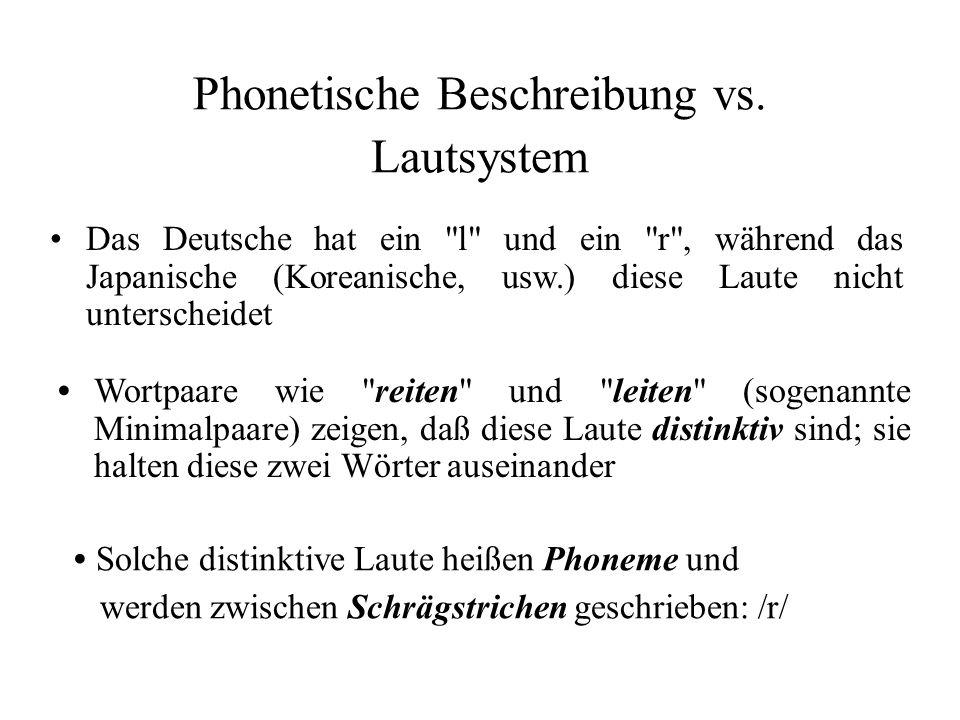 Phonetische Beschreibung vs. Lautsystem