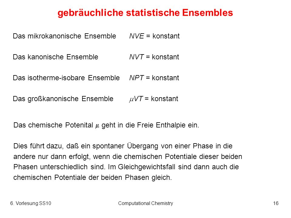 gebräuchliche statistische Ensembles