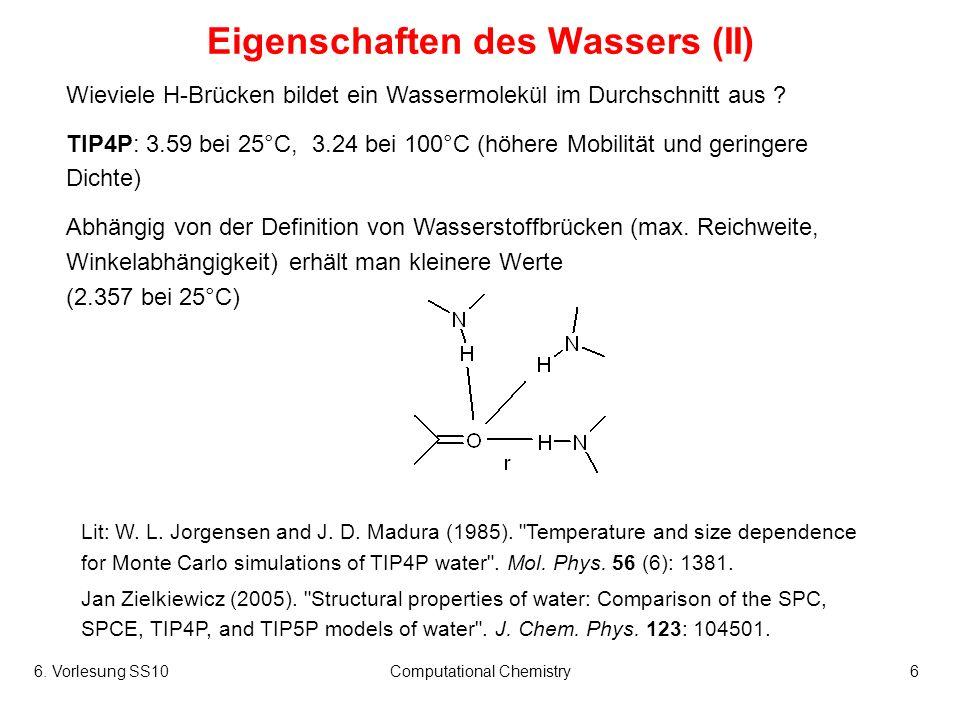 Eigenschaften des Wassers (II)