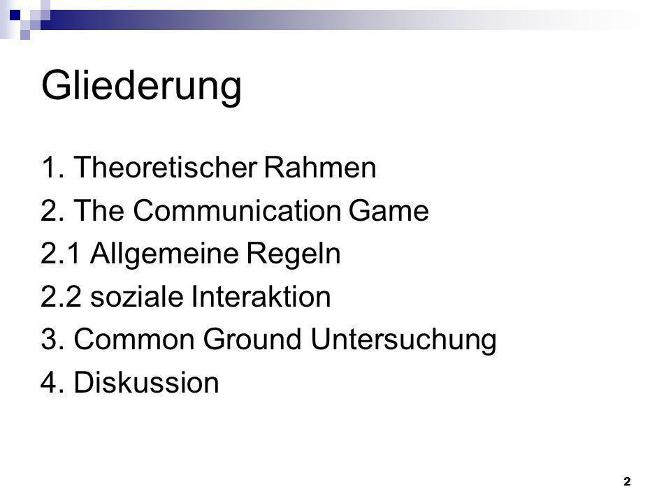 Gliederung 1. Theoretischer Rahmen 2. The Communication Game