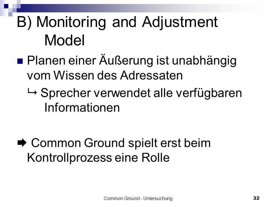 B) Monitoring and Adjustment Model