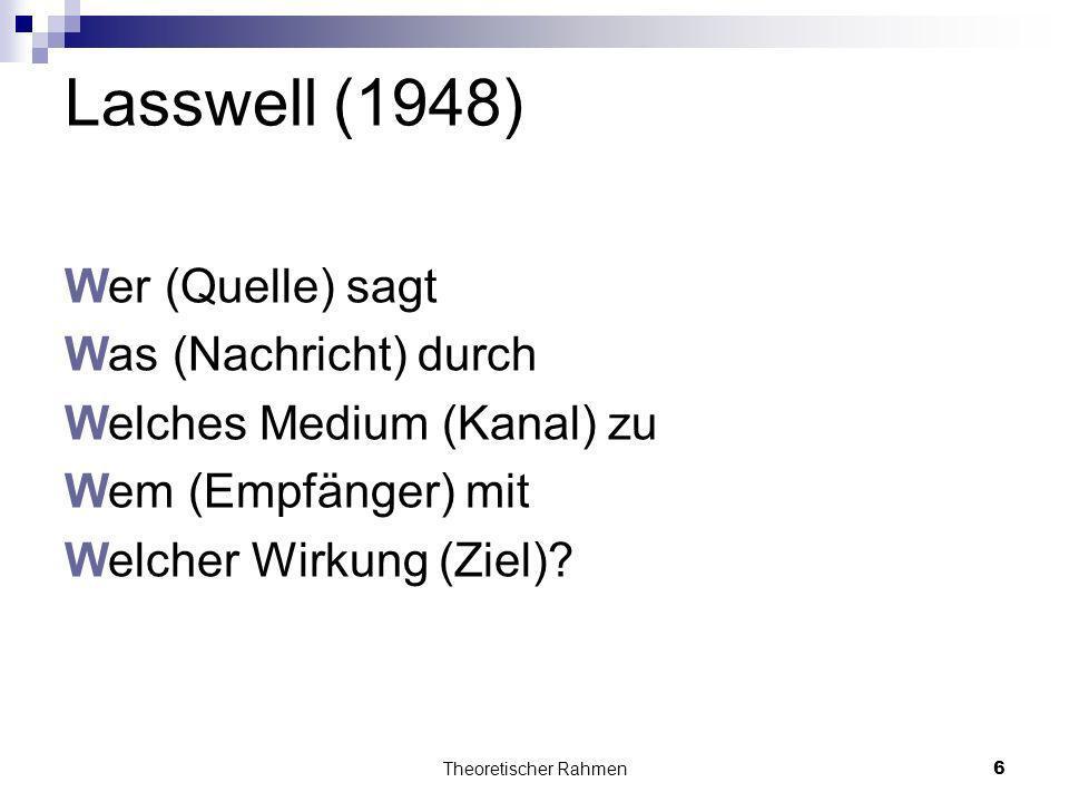 Lasswell (1948) Wer (Quelle) sagt Was (Nachricht) durch