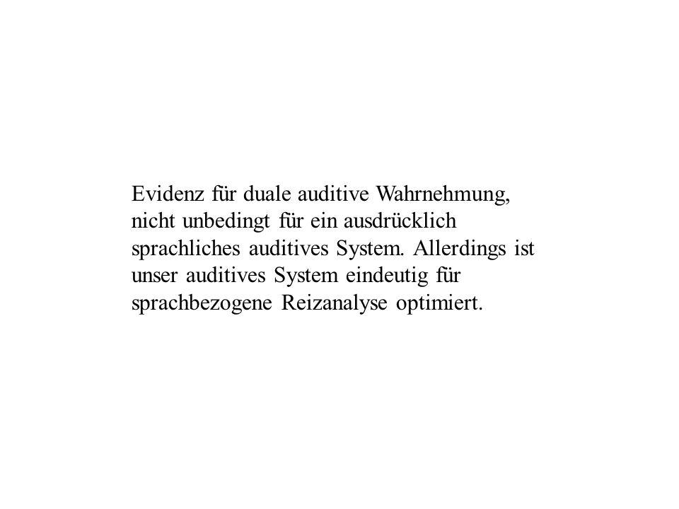 Evidenz für duale auditive Wahrnehmung, nicht unbedingt für ein ausdrücklich sprachliches auditives System.