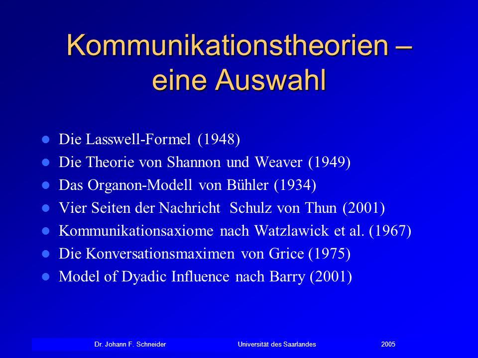 Kommunikationstheorien – eine Auswahl