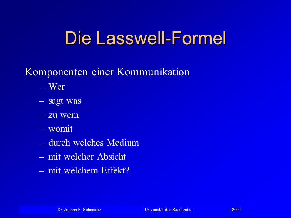 Die Lasswell-Formel Komponenten einer Kommunikation Wer sagt was
