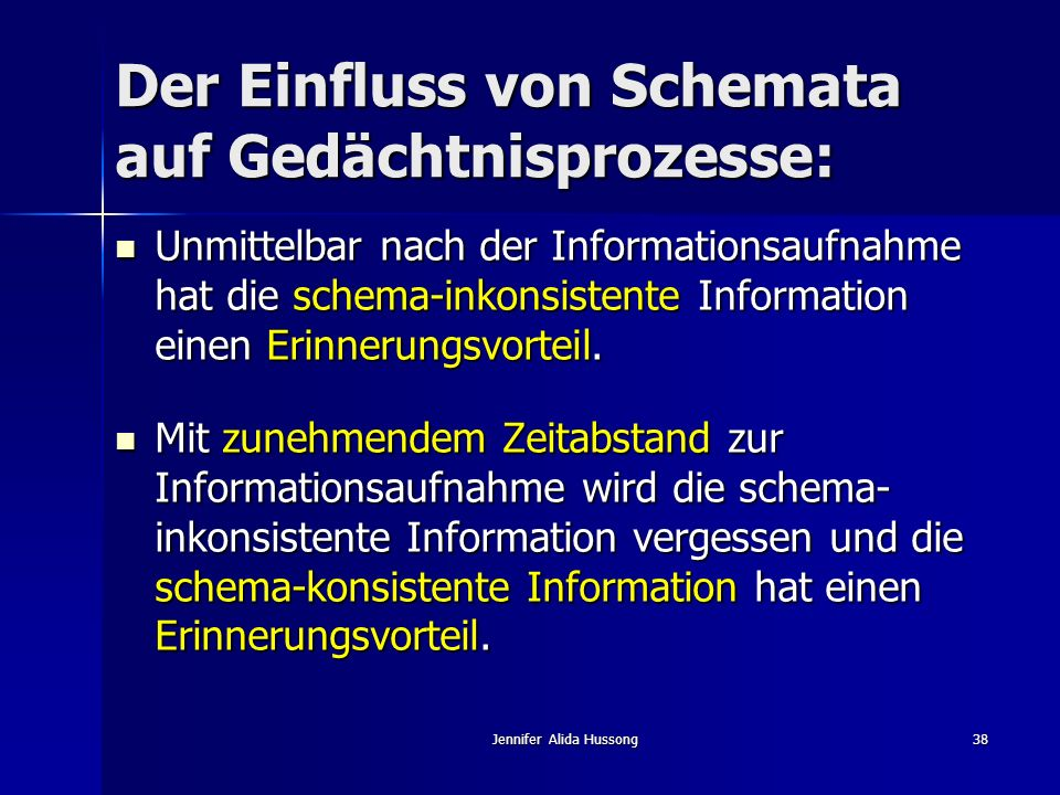 Der Einfluss von Schemata auf Gedächtnisprozesse: