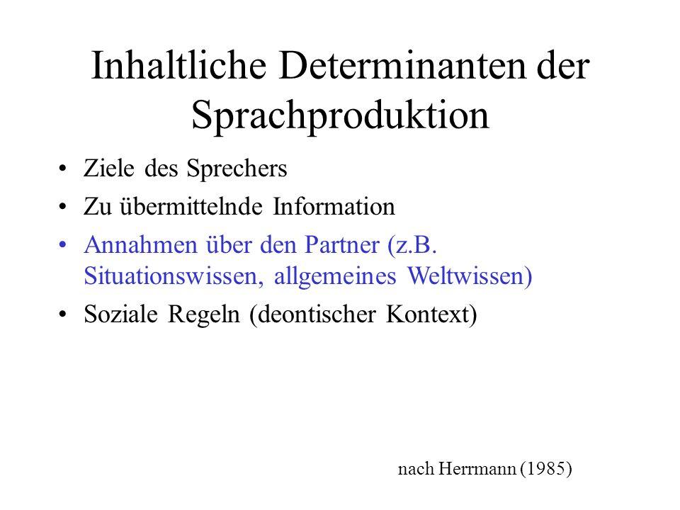 Inhaltliche Determinanten der Sprachproduktion