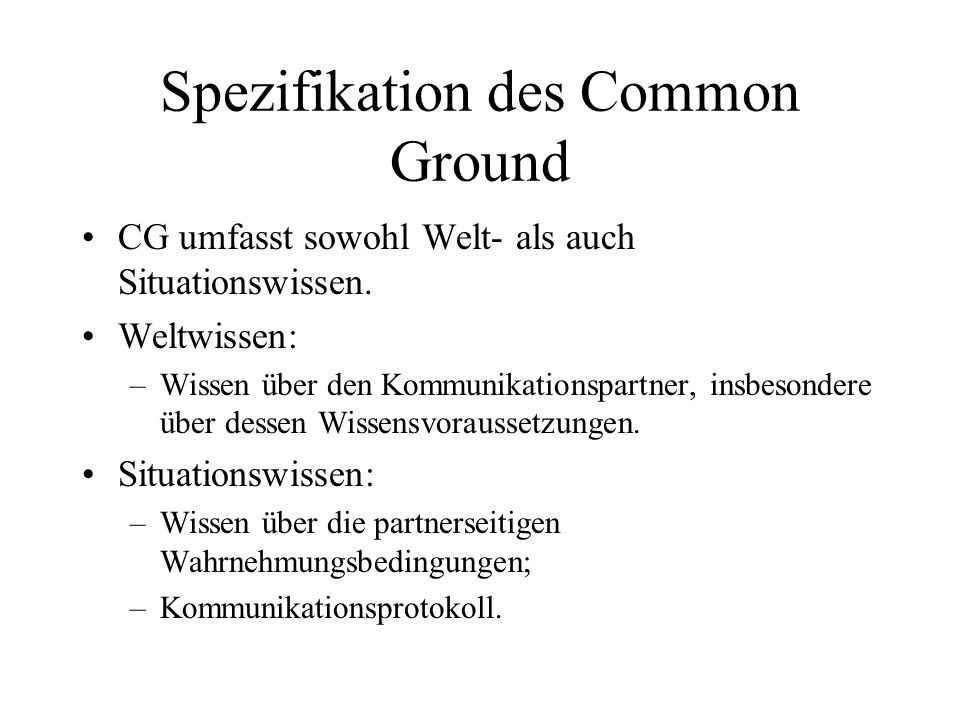 Spezifikation des Common Ground