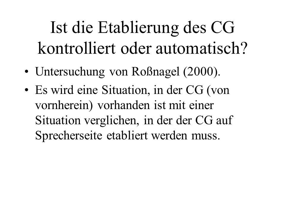 Ist die Etablierung des CG kontrolliert oder automatisch
