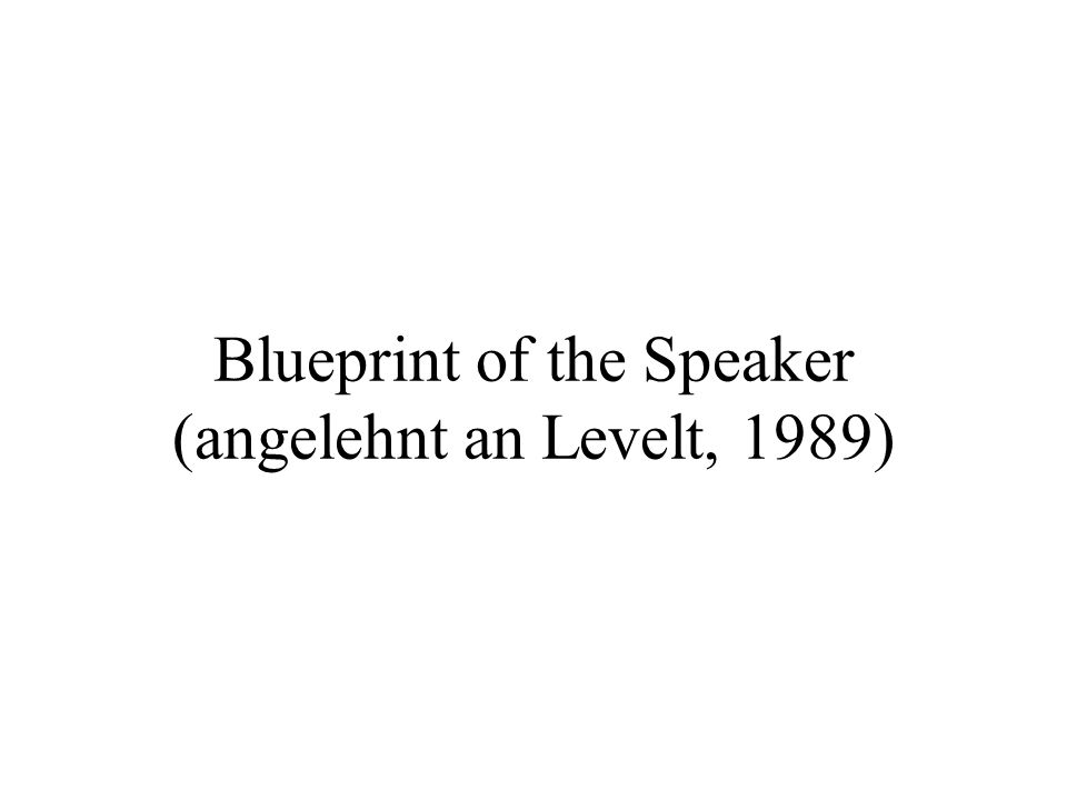 Blueprint of the Speaker (angelehnt an Levelt, 1989)