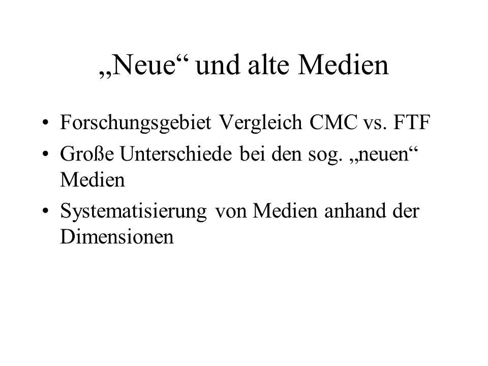 """""""Neue und alte Medien Forschungsgebiet Vergleich CMC vs. FTF"""