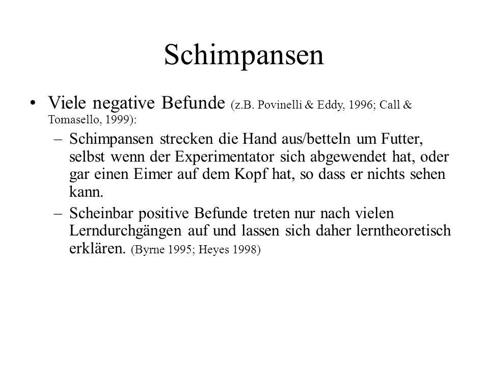 Schimpansen Viele negative Befunde (z.B. Povinelli & Eddy, 1996; Call & Tomasello, 1999):