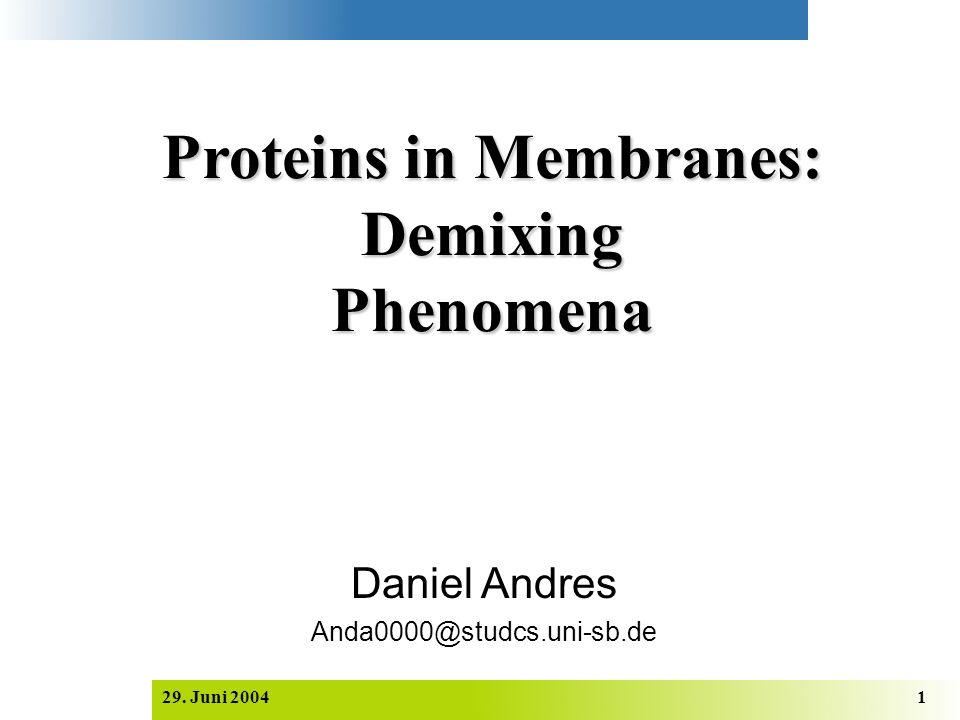 Proteins in Membranes: