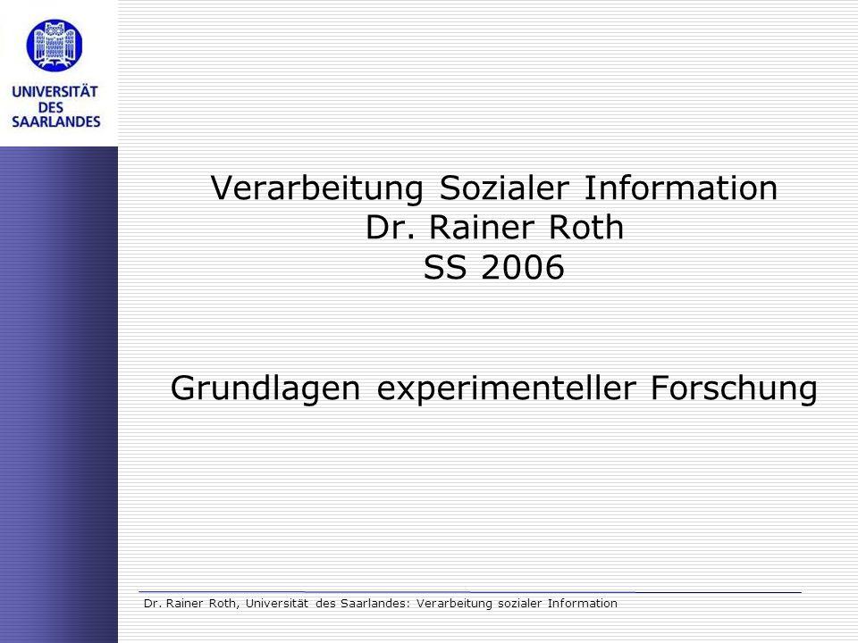 Verarbeitung Sozialer Information Dr