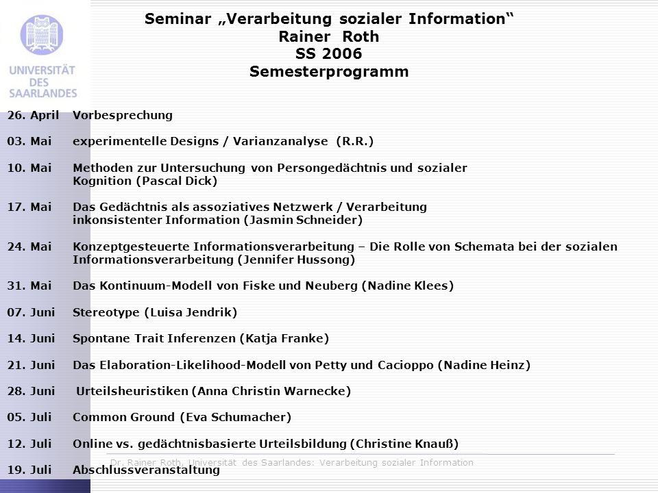 "Seminar ""Verarbeitung sozialer Information"