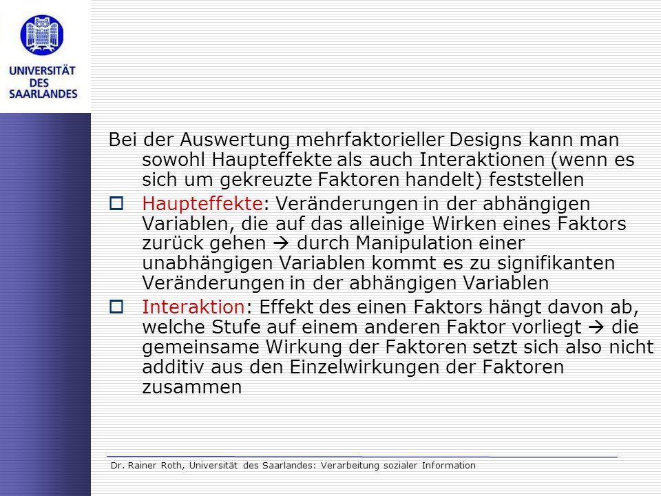 Bei der Auswertung mehrfaktorieller Designs kann man sowohl Haupteffekte als auch Interaktionen (wenn es sich um gekreuzte Faktoren handelt) feststellen