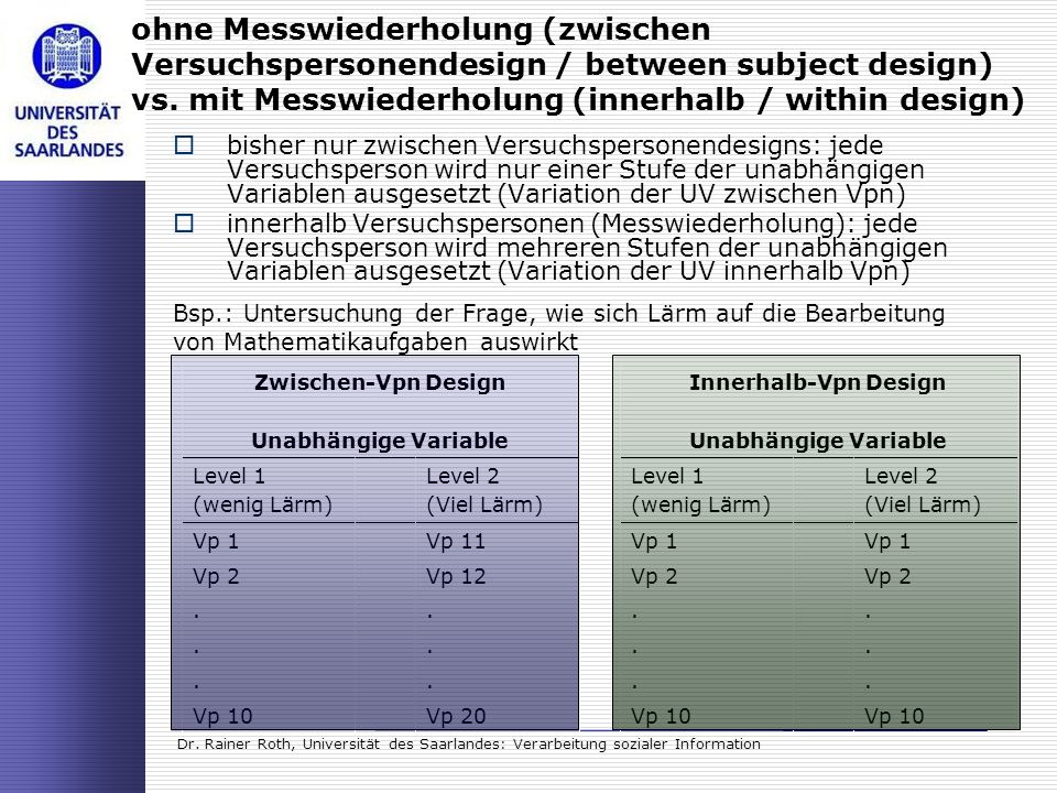 ohne Messwiederholung (zwischen Versuchspersonendesign / between subject design) vs. mit Messwiederholung (innerhalb / within design)