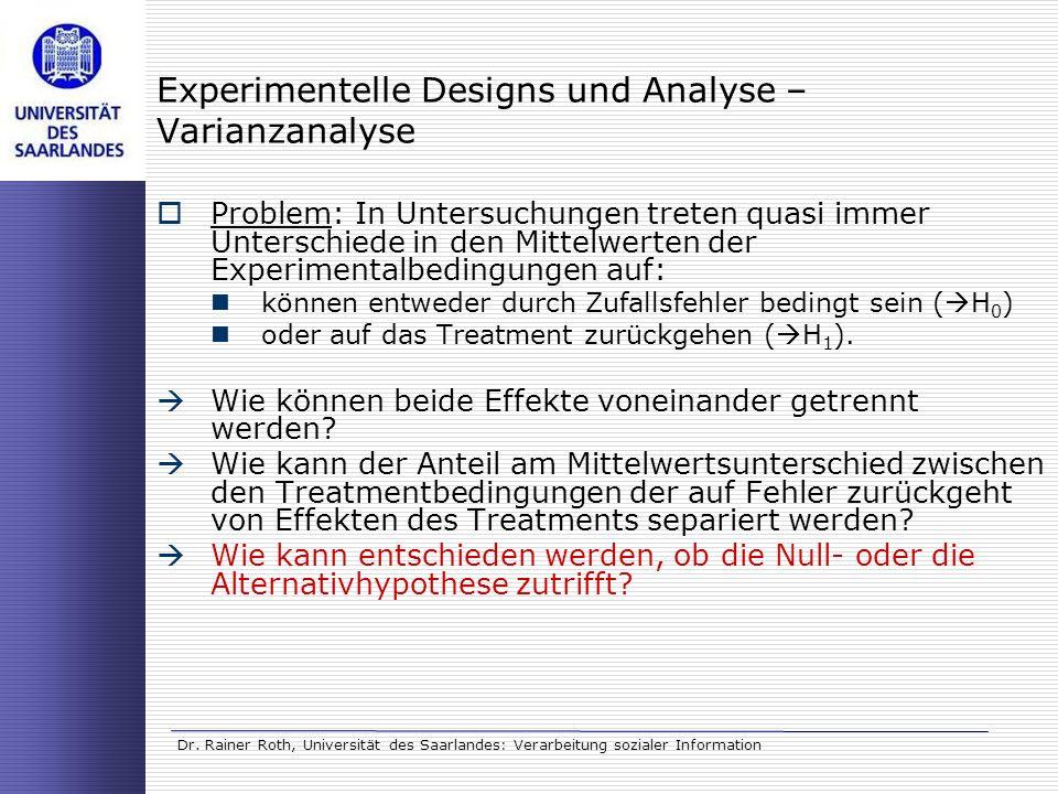 Experimentelle Designs und Analyse – Varianzanalyse