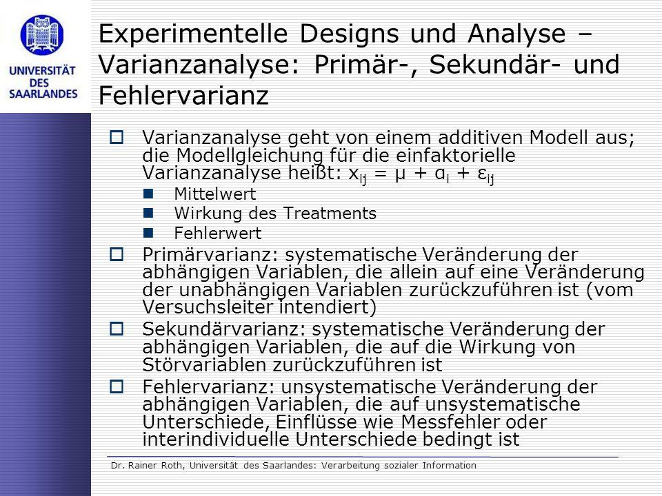 Experimentelle Designs und Analyse – Varianzanalyse: Primär-, Sekundär- und Fehlervarianz