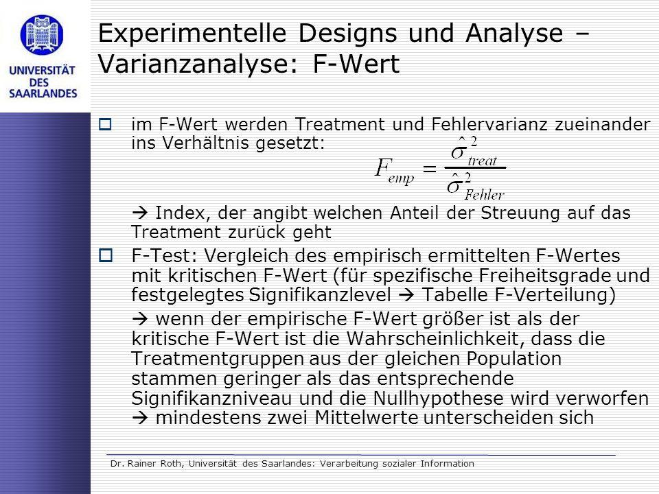 Experimentelle Designs und Analyse – Varianzanalyse: F-Wert