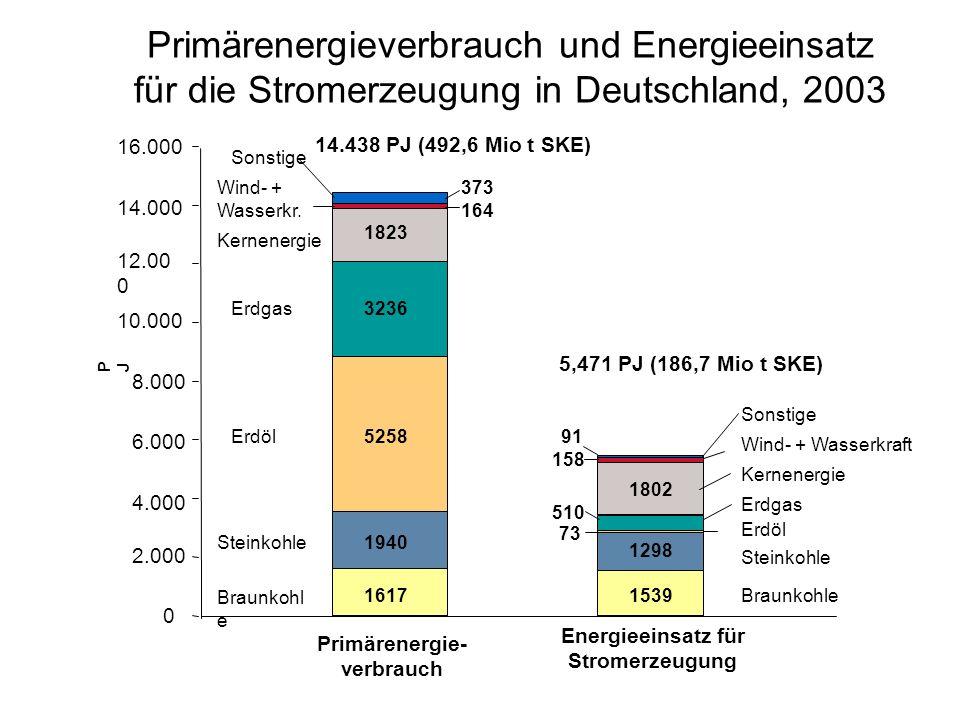 Energieeinsatz für Stromerzeugung Primärenergie-verbrauch