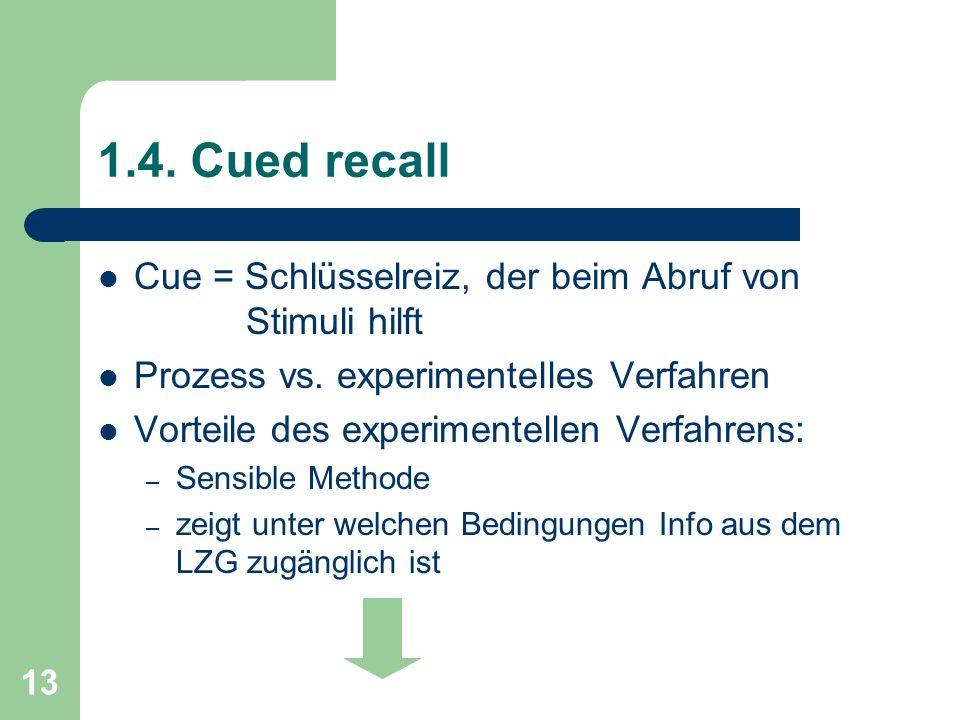 1.4. Cued recall Cue = Schlüsselreiz, der beim Abruf von Stimuli hilft