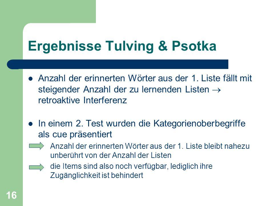 Ergebnisse Tulving & Psotka