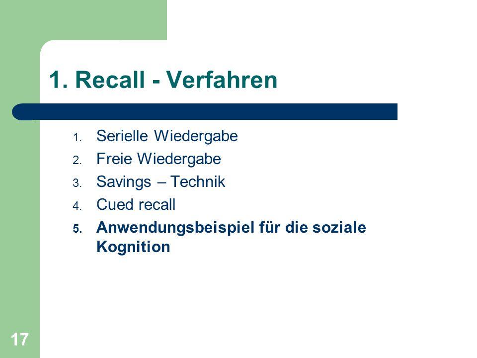 1. Recall - Verfahren Serielle Wiedergabe Freie Wiedergabe