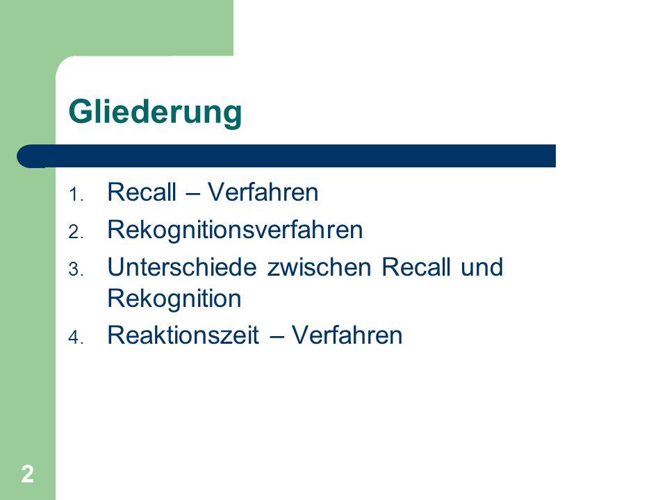 Gliederung Recall – Verfahren Rekognitionsverfahren